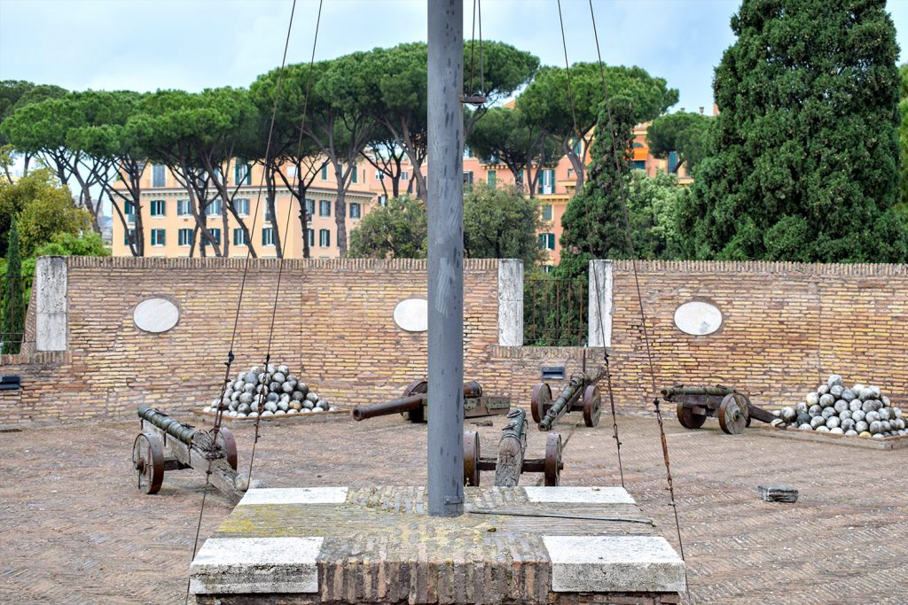 Roman cannons at the museum of the Sant'Angelo Castle Italy