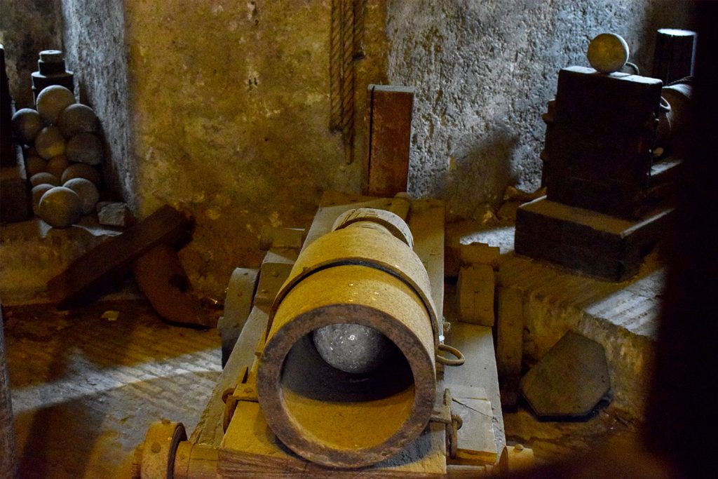 Projectiles for Roman cannons at the museum of the Sant'Angelo Castle Italy