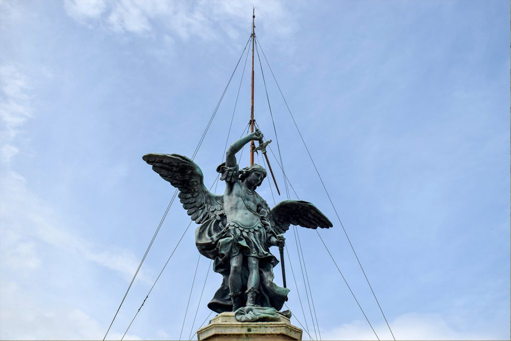Angel on the top of the Sant'Angelo Castle Italy