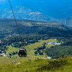 Cable car network from the Gran Sasso mountains, Teramo province, Abruzzo region, Italy