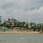 The beach with hotels and palm trees from San Benedetto del Tronto, Adriatic Sea, Ascoli Piceno, Italy