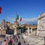 View from the front of Altare della Patria, Piazza Venezia, Rome Italy