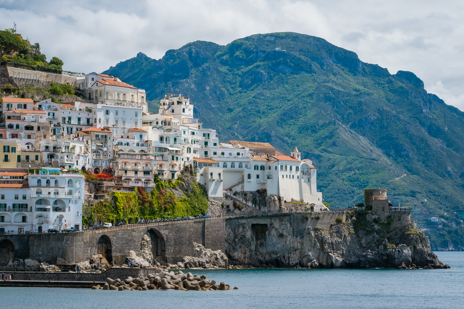 Beautiful view of seaside city Amalfi in the province of Salerno, the region of Campania, Amalfi Coast, Costiera Amalfitana, Italy