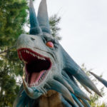 Blue angry dragon at the entrance of the Zoomarine Park