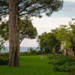 Beautiful view from the garden of Villa Cimbrone, Ravello village, Amalfi coast of Italy