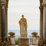Arch with a statue at the entrance to the Terrace of Infinity or Terrazza dell'Infinito, Villa Cimbrone, Ravello village, Amalfi coast of Italy