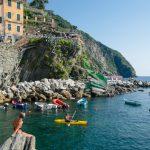 Boats, Sailing Ships, on the port of Riomaggiore, Cinque Terre, La Spezia, Italy