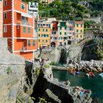 Colorful buildings in the port of Riomaggiore, Cinque Terre, La Spezia, Italy